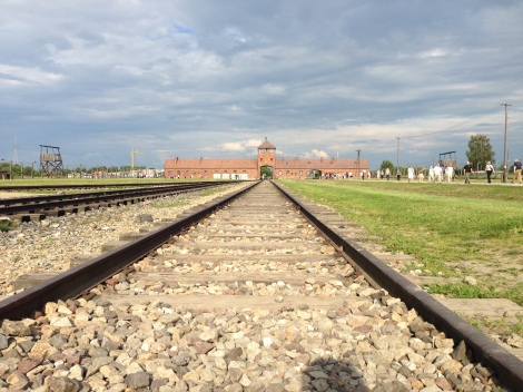 Looking back at the entrance to Auschwitz II / Birkenau